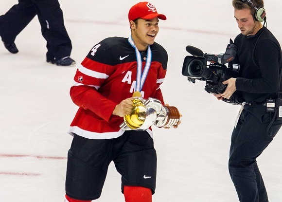 Photo: Madison Bowey's goal and three assists helped Team Canada win the gold medal at the World Junior Championships (Image courtesy of Dennis Pajot/Getty Images)