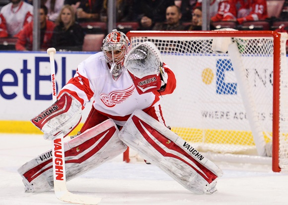 Photo: Detroit Red Wings goaltender Petr Mrazek filled in well with Jimmy Howard injured. (courtesy of Juan Salas/Icon Sportswire)