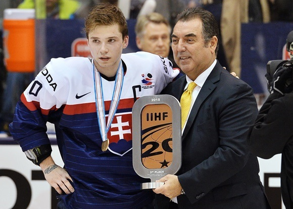 Photo: Martin Reway captained the Cinderella Slovakian team to the bronze medal at the 2015 World Junior Championships (Courtesy of CHL Images)