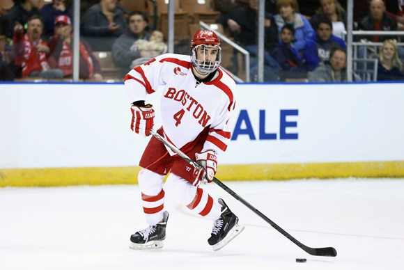 Photo: Calgary Flames prospect Brandon Hickey was on the wrong side of the National Championship but had an outstanding freshman campaign for Boston University (courtesy of Fred Kfoury III/Icon Sportswire)