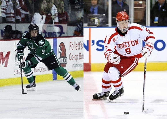 Drake Caggiula - University of North Dakota; Jack Eichel - Boston University - 2015 Frozen Four Semi-final