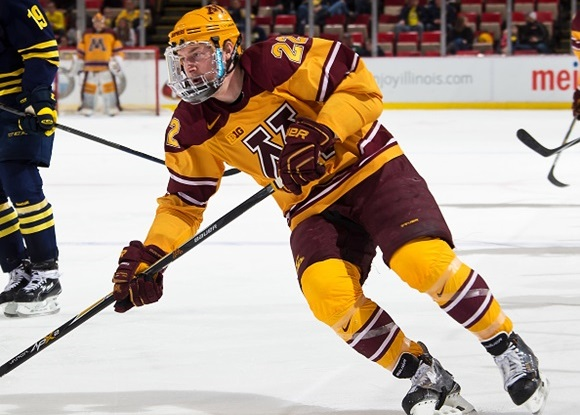 Photo: Immediately after his season with the University of Minnesota ended, Travis Boyd began his professional career, joining the Hershey Bears for the remainder of the season. (Courtesy of Dave Reginek/Getty Images)