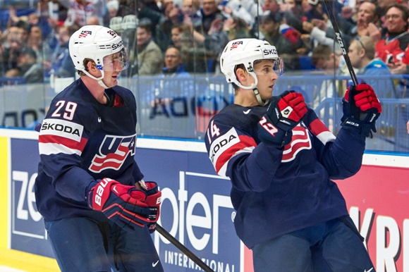 Brock Nelson and Steve Moses - Team USA - IIHF Ice Hockey World Championships