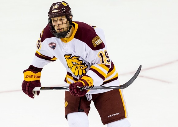 Photo: Dominic Toninato had 16 goals and 26 points in his sophomore season at the University of Minnesota-Duluth. (Courtesy of Richard T. Gagnon/Getty Images)