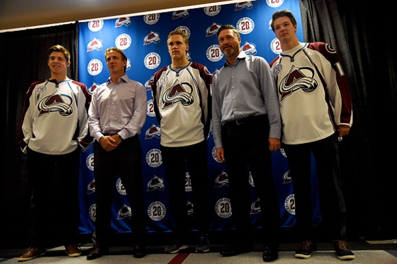 Photo: the newest Colorado Avalanche prospects, Mikko Rantanen (10th overall), A.J. Greer (39th overall), and Nicolas Meloche (40th overall) pose with team legends Joe Sakic and Patrick Roy at their introductory press conference in Denver (courtesy of AAron Ontiveroz/The Denver Post via Getty Images)