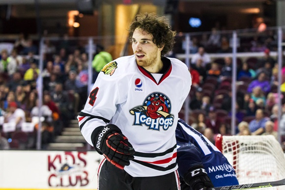 Photo: Chicago Blackhawks prospect Stephen Johns, selected 60th overall at the 2010 NHL draft, led Rockford in playoff scoring capping off a career-best scoring season in 2014-15 (courtesy of Frank Jansky/Icon Sportswire)
