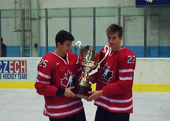 Jordan Kyrou and Michael McLeod - Team Canada - 2015 Ivan Hlinka Memorial Tournament