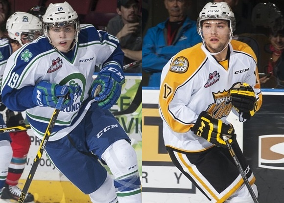 Jake DeBrusk - Swift Current Broncos; John Quenneville - Brandon Wheat Kings - WHL East Division