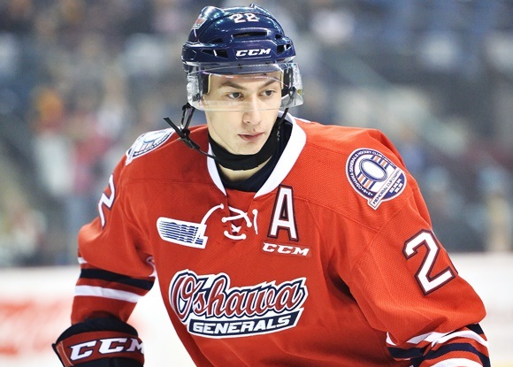 Photo: Anthony Cirelli was promoted to alternate captain in his second season as a member of the Oshawa Generals, scoring 12 points in his first 15 games with a letter on his chest. (Courtesy of Terry Wilson/OHL Images)