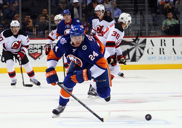 Photo: Although Kevin Czuczman hasn't put on an Islanders jersey since his 13-game stint in March, 2014, it is only a matter of time before he finds his way back to the NHL. (Courtesy of Bruce Bennett/Getty Images)
