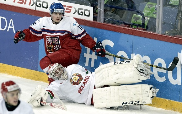 Ivan Kulbakov - Team Belarus; Michael Spacek - Team Czech Republic - 2016 IIHF World Junior Championship