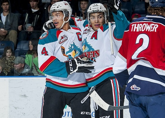 Madison Bowey and Tyrell Goulbourne - Kelowna Rockets
