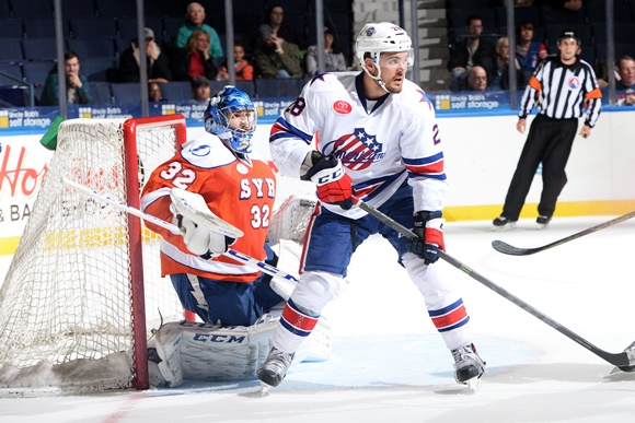 Photo: William Carrier has seven points (4 goals, three assists) in 18 games for the Rochester Amerks this season. (Courtesy of Micheline Veluvolu/Rochester Americans)