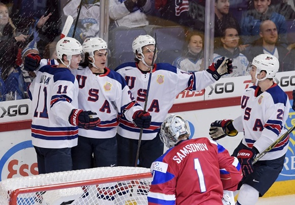 Christian Dvorak, Sonny Milano, Anders Bjork, and Will Borgen - Team USA - 2016 IIHF World Junior Championship