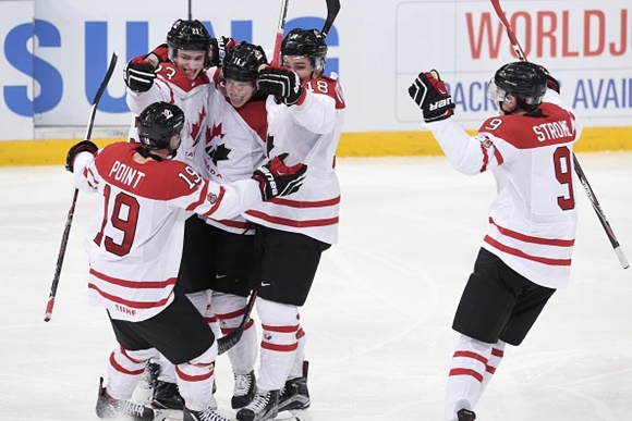 Brayden Point, Travis Sanheim, Mitch Marner, Jake Virtanen and Dylan Strome - Team Canada - 2016 IIHF World Junior Championship