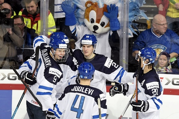 Jesse Puljujarvi, Olli Juolevi, Julius Nattinen and Sebastian Aho - Team Finland - 2016 IIHF World Junior Championship
