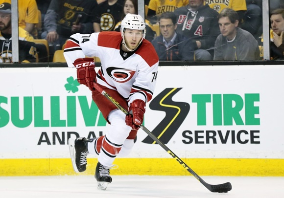 Photo: Jaccob Slavin has established himself as an importan piece of Carolina's future during his rookie season. (Courtesy of Fred Kfoury III/Icon Sportswire)