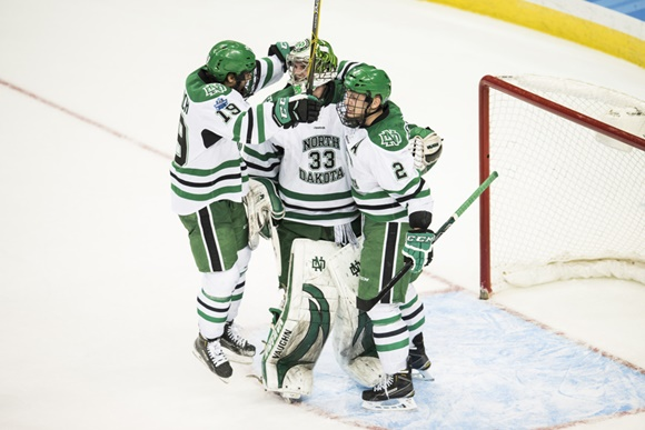 Shane Gersich, Cam Johnson, and Troy Stecher - University of North Dakota - 2016 NCAA Frozen Four